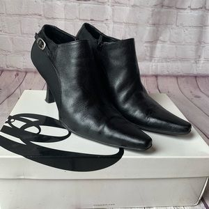 Nine West Black Leather Heeled Ankle Booties